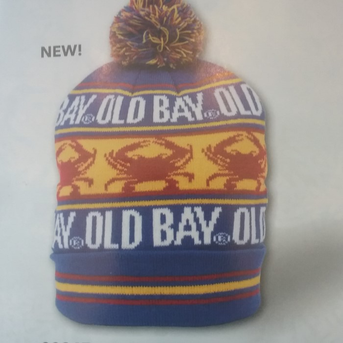 Old Bay Crab Stripe Winter Hat With Pom  ba1926219e8