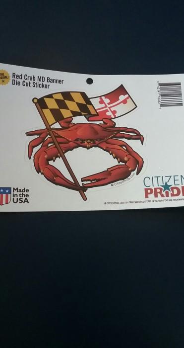 Red Crab holding Maryland Stick Flag - Sticker