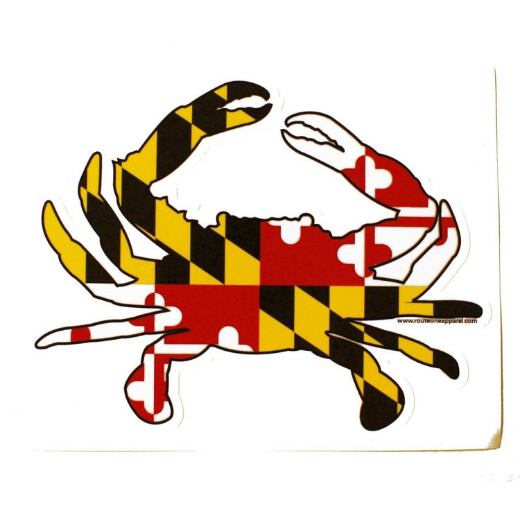 Maryland flag crab sticker